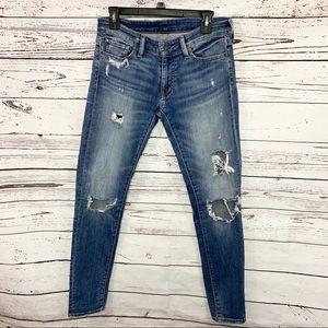 Ralph Lauren Distressed Kayla Skinny Jeans Size 28